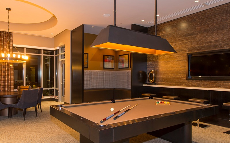 spacious Sky Lounge with billiards table